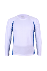 Unisex Funktionsshirts langarm weiß/royalblau