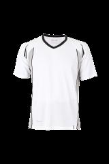 Unisex Lauftrikot V-Neck weiß/schwarz
