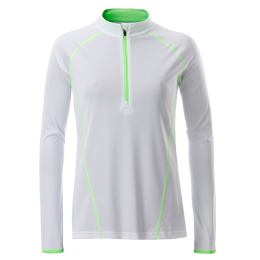 Damen Langarm Funktions-Shirt weiß/neongrün