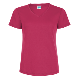 Damen Lauftrikot basic V-Neck Hot Pink