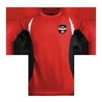 Laufshirt contrast rot-schwarz mit Aufdruck für Fishermens Friends Strong Men