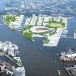 Stadtplannung Kleiner Grasbrook - geplanntes Olympia Stadion Hamburg 2024