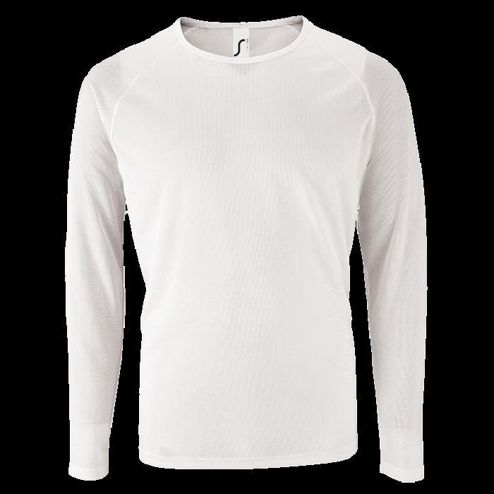 Herren Sport T-Shirt langarm weiß