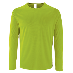 Herren Sport T-Shirt langarm neongrün