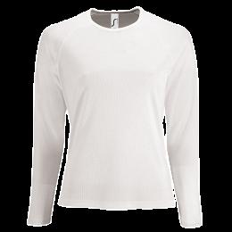 Damen Sport T-Shirt langarm weiß