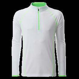Herren Langarm Funktions-Shirt weiß/neongrün