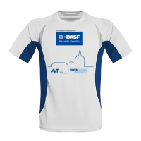 Laufshirts Contrast weiß/royalblau mit Sublimatonsdruck bedruckt für die Uni Aachen.