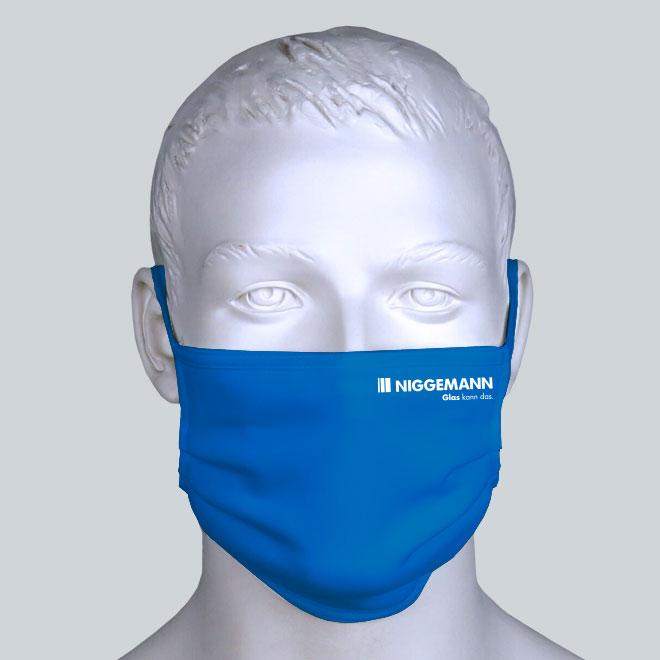 Firmen Maske royalblau mit Logo