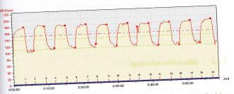 Zeitlicher Verlauf der Herzfrequenz beim extensiven Intervalltraining (10 x 1.000 m mit 400 m Trabpausen)