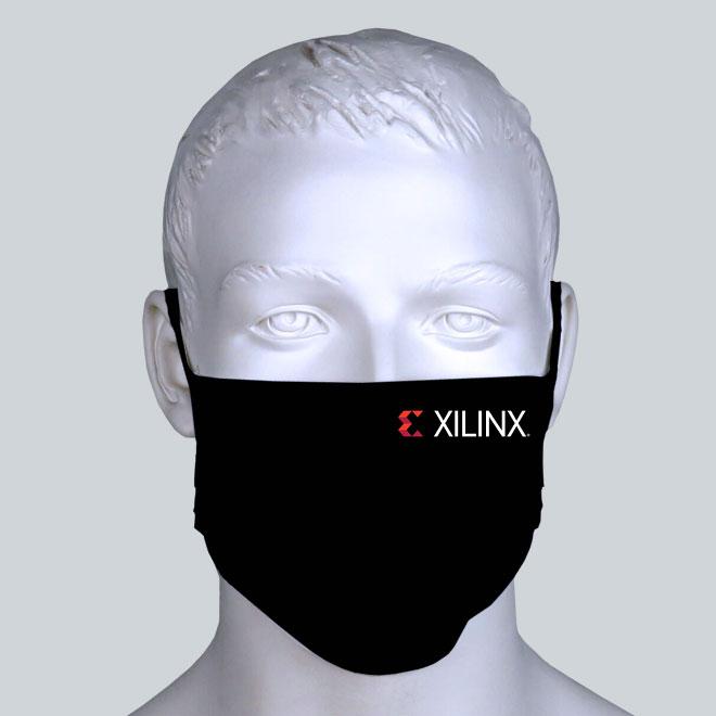 Firmen Maske schwarz mit Logo