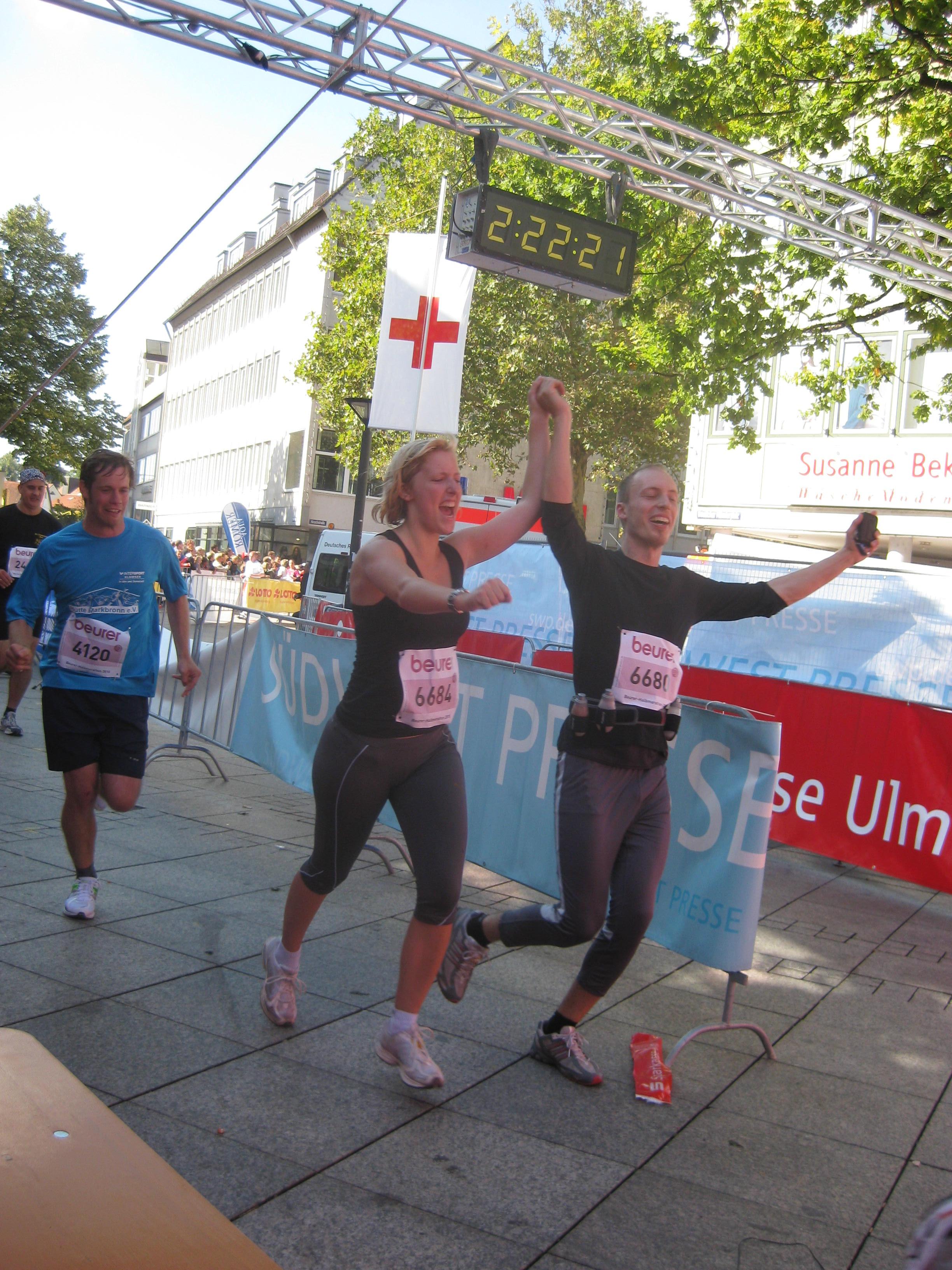 Zieleinlauf Ulm Halbmarathon